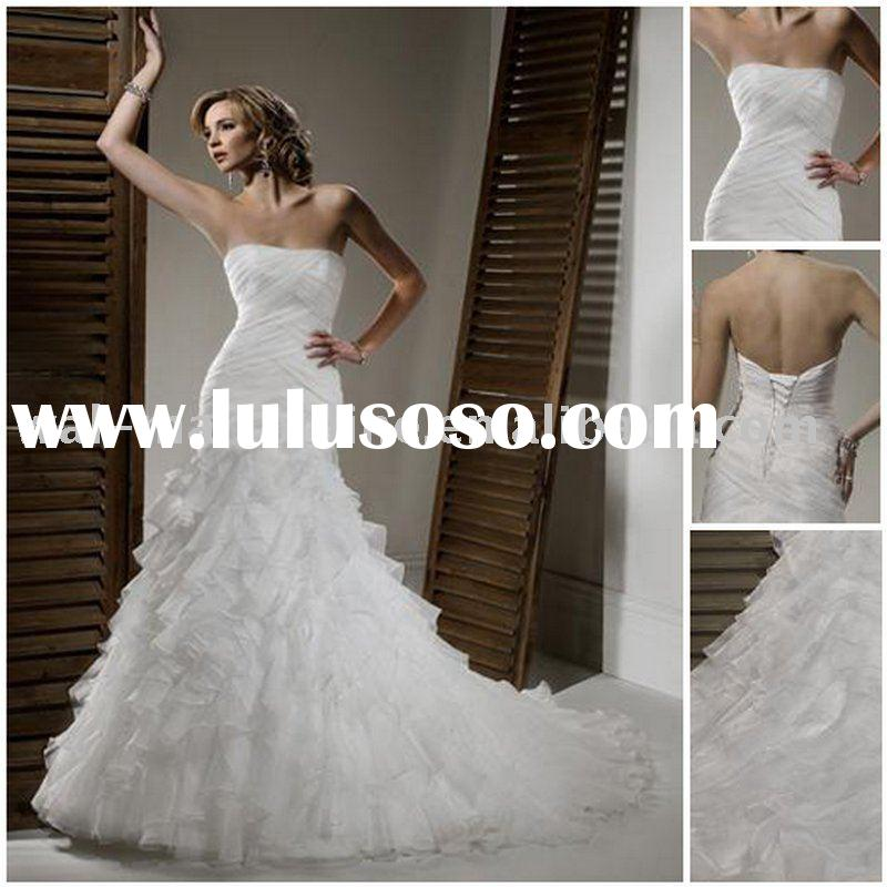 MG653 Trumpet Strapless Ruffles Organza Tiered Wedding Dress 2011