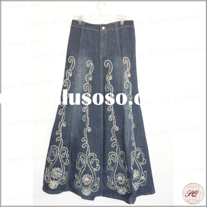 Maxi style women's beautiful embroidered long jean skirts
