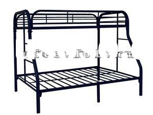 Metal Twin Over Full Bunk Bed With Side Ladder In Black