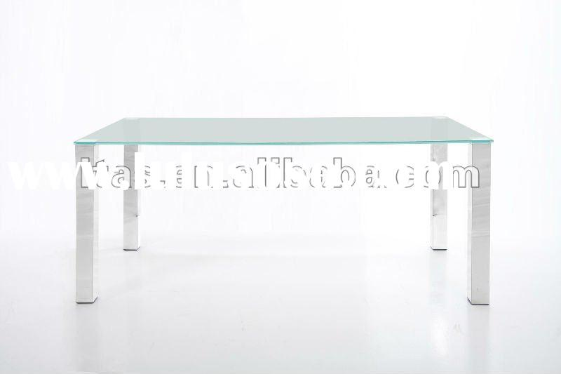 OPTI-White Painted Tempered Glass Top & Metal Dining Table (D485)