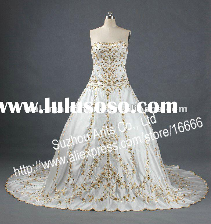 RW0236 Satin Brial Gown Gold Embroidery Wedding Dresses With Long Trains
