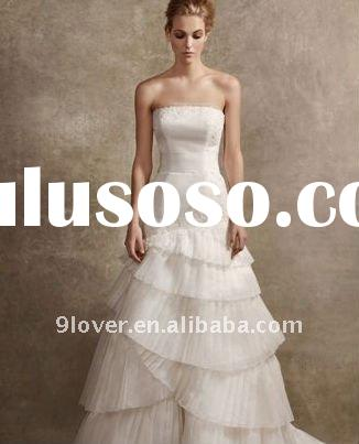 Satin Faced Organza Fit and Flare Gown Style VW351020 wedding dress