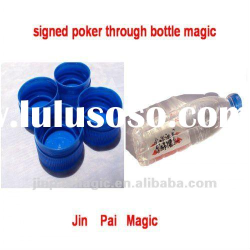 Signed poker into the closed bottle,poker through bottle magic,poker magic,through magic,magic trick