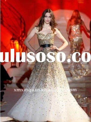ZM443 Sweetheart full sequins beaded long women's arabic evening gowns dresses designs 2011