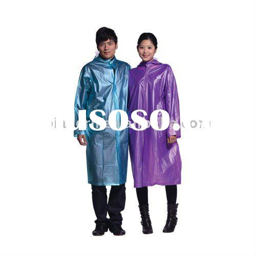 adult shiny pvc long raincoat