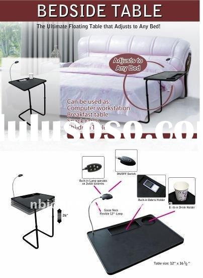 bed side table adjustable plastic with LED light