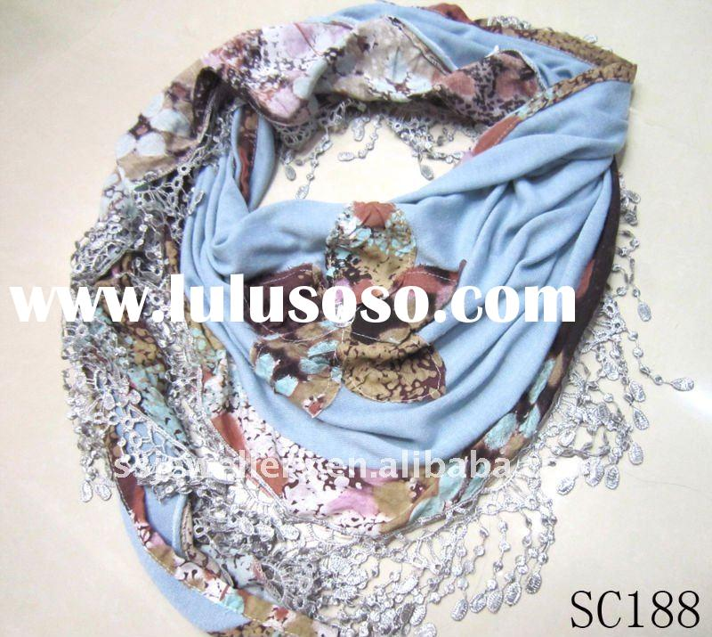 cotton lace triangle shawl and long scarf