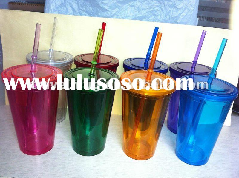 double wall plastic mug with lid and straw