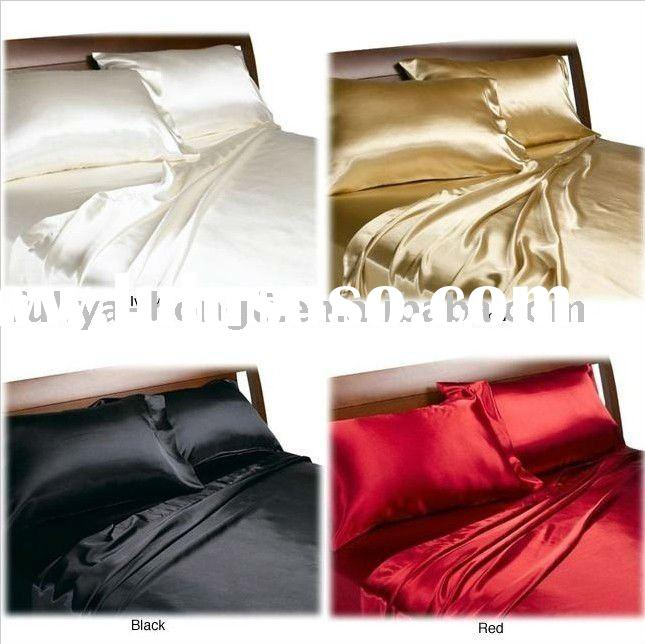 hotsale-100% polyester satin bed sheet set