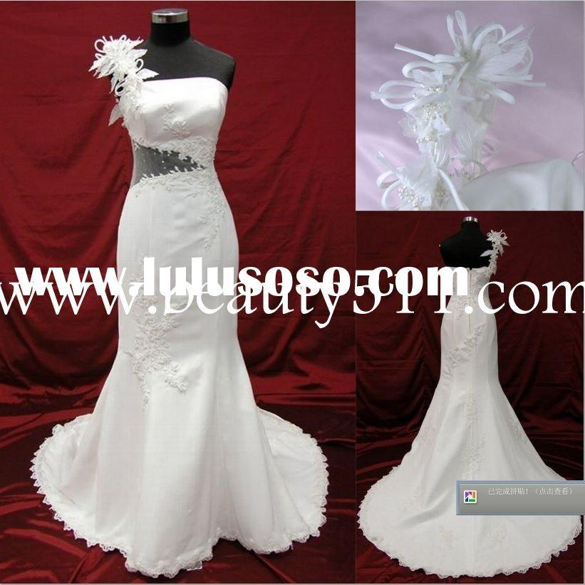 one-shoulder japanese style wedding dress bridal gown WDAH0500