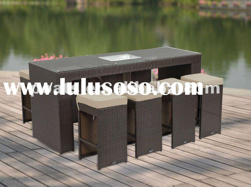 rattan furniture bar table nine Pieces Wicker Table Set PS-9106