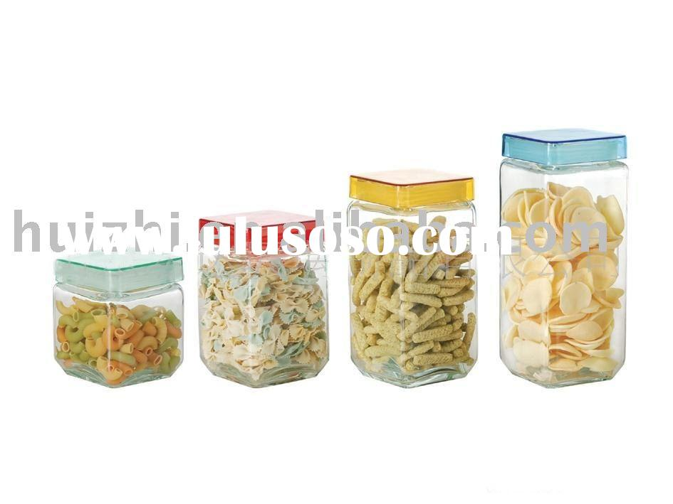 square glass candy jar with glass lid