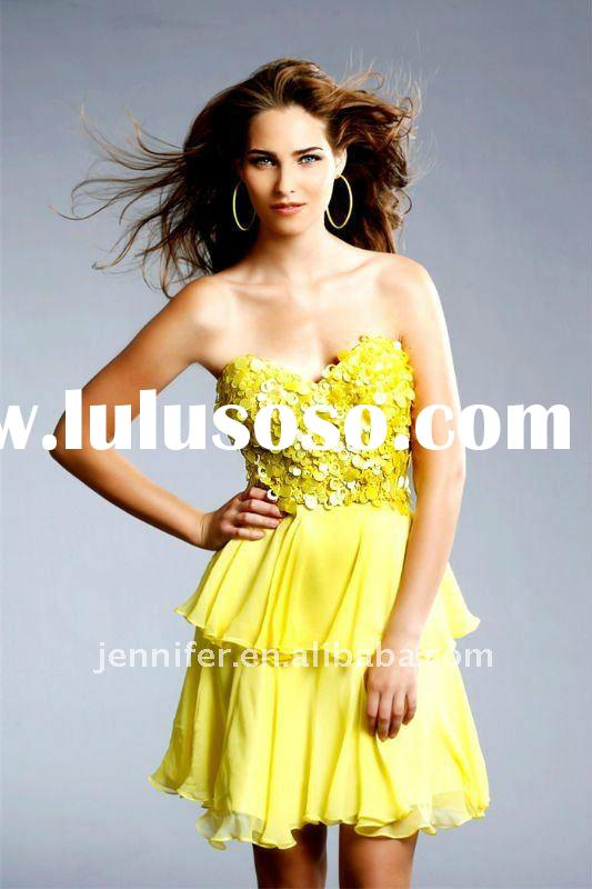 2011 Yellow chiffon short summer evening dress (abh235)