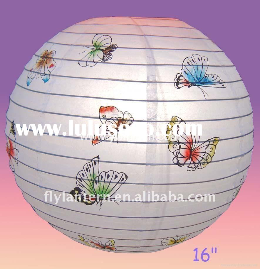 2011 battery operated round paper/Fabric lantern with pattern