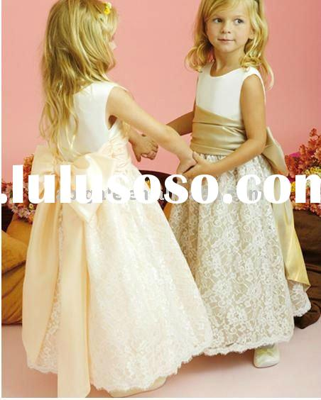 Boat-neckline Ankle-Length Satin and Lace Flower Girl Dress 2011