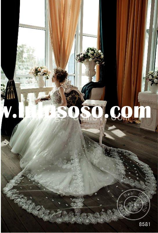 Bridal gown Wedding dress beads lace ribbons ruched long train