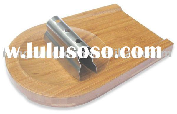 bamboo cheese board with knife