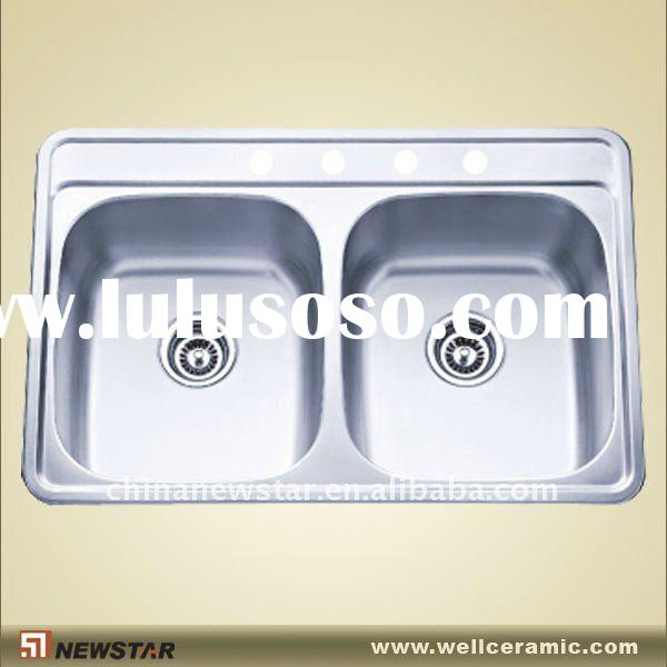 italian kitchen sink top mount double bowl steel sink