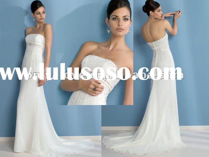 ivory Chiffon strapless embroidery crystals backless A-line wedding dresses OLW719