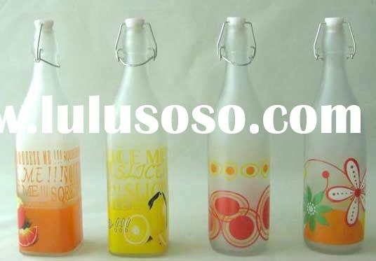 1000ml round glass water bottle with decal