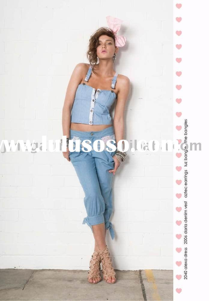 100% cotton ladies high fashion denim jeans