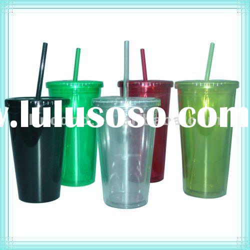 16oz plastic tumbler with lid and straw