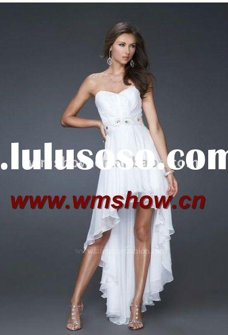 2011 Latest Modern Hot Sale Sweetheart White Short Front Long Back Prom Dress
