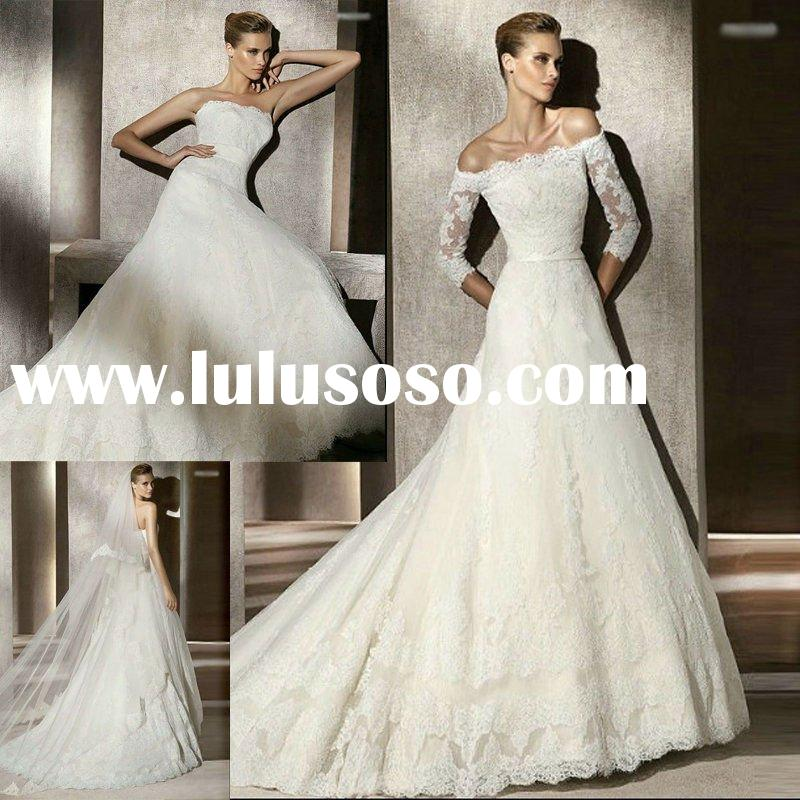 2012 Hot Selling Long Sleeve White Lace Wedding Dress H0813