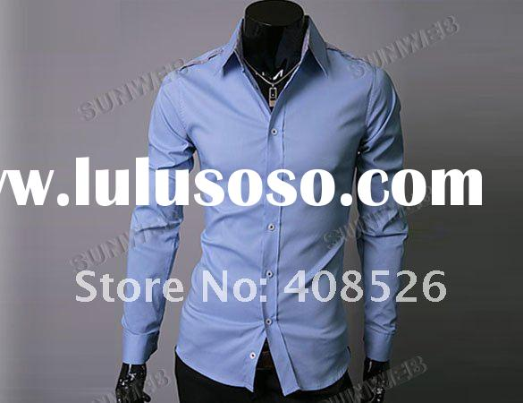 2012 New Designer Casual Slim Men's Dress Shirts Top Fit Stylish Long Sleeve