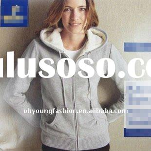 2012 wholesale and retail top quality lady white cotton plain long sleeve pullover hoody