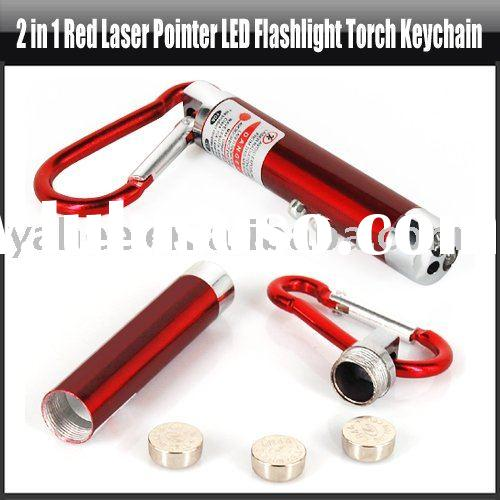 2 in 1 Red Laser Pointer LED Flashlight Torch Keychain,YHA-HG093
