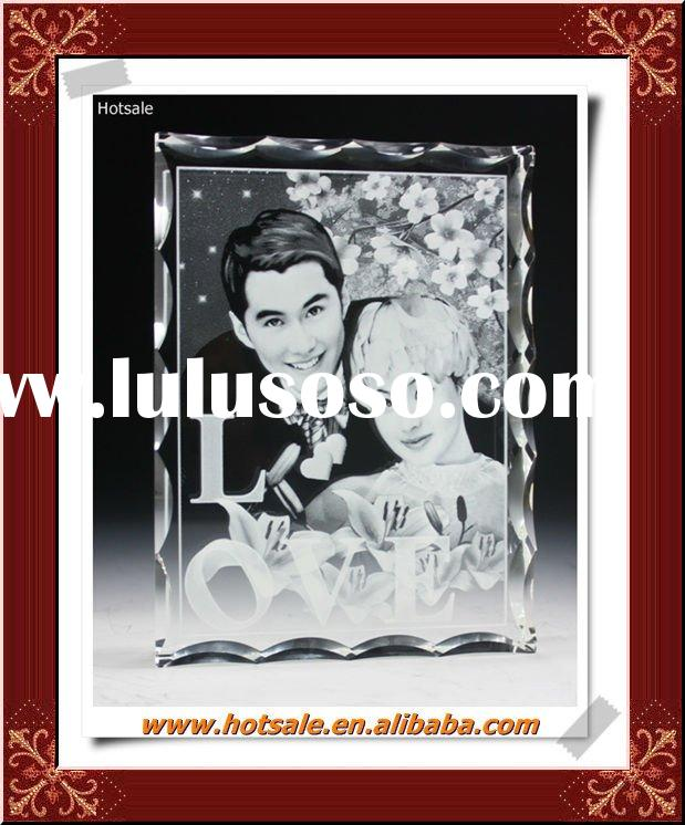 3D laser engraved frameless photo frame, crystal laser engraving personality customization wedding g