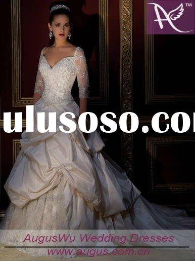 AWS-10528 Romantic Long sleeve Ball gown Taffeta Applique Beaded Wedding dress