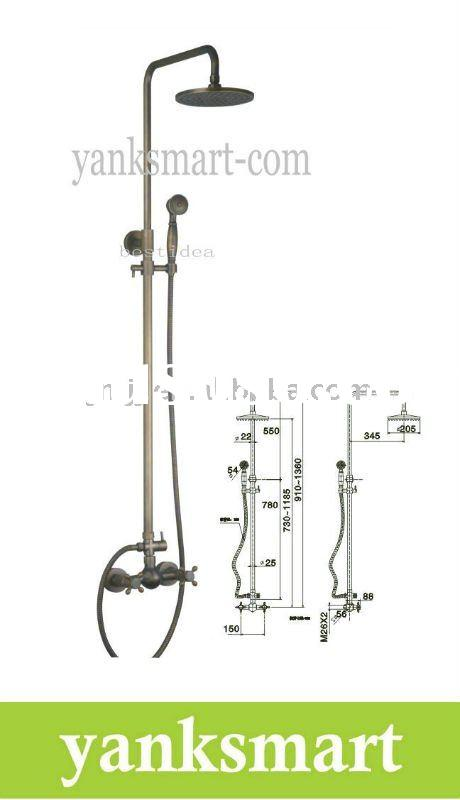 Antique Brass Wall Mounted Rain Shower Faucet Set JN-5038