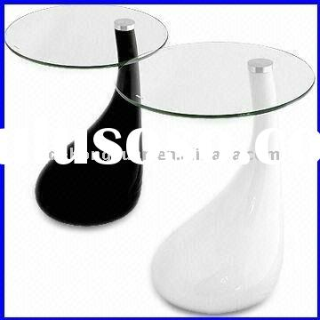 Black/White Round Glass Side Table/Coffee Table