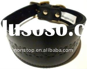 Black embossed Leather Whippet Greyhound Collar