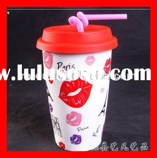 Customize Personal Ceramic Coffee Heatproof Mug Cup with Eco-Silicone Lid Sleeve Straw 350ml Starbuc