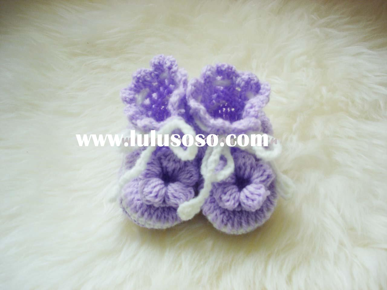 DD07017B Hand Crochet flowers Baby Shoes Wool Purple Mauve knit Booties knitted