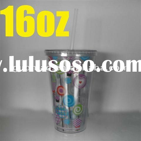 Double wall cup, Plastic Straw Cup, Plastic Starbucks Cup, Starbucks