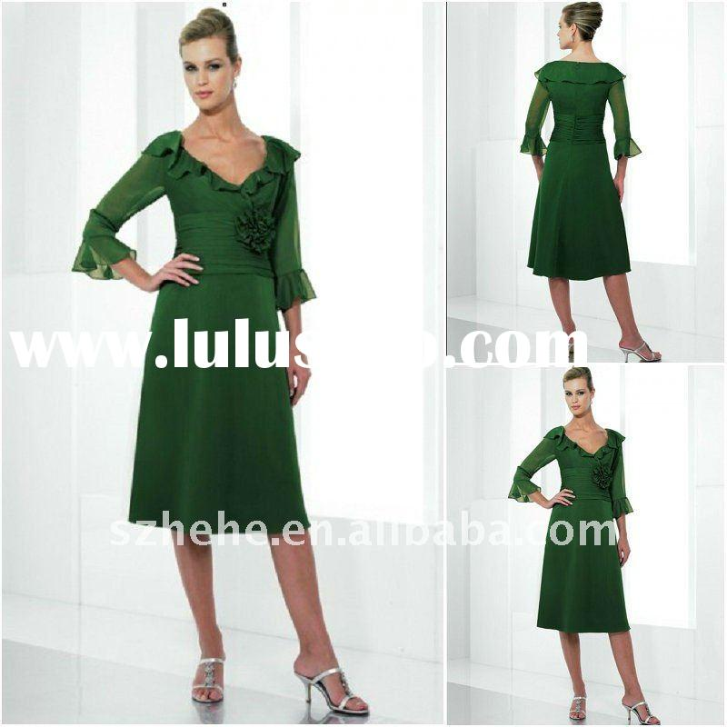 Elegant sweetheart tea-length mother of the bride chiffon dress