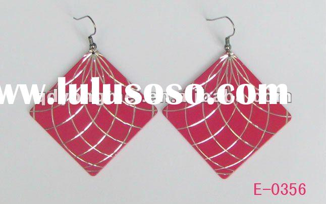 Fashion costume jewelry engrave pattern red rose square earrings 2012 latest design