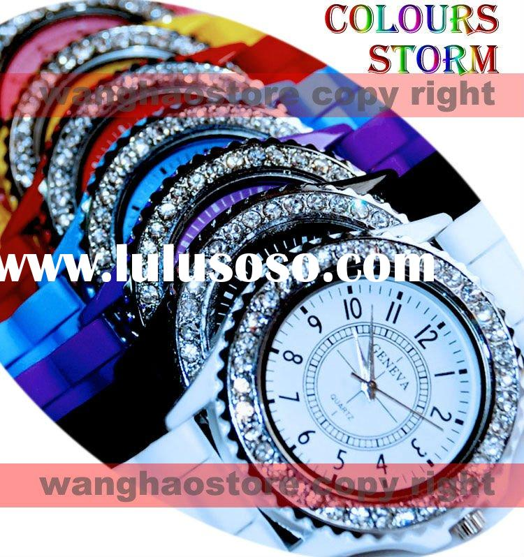 Free Shipping 2011 2012 Classic Gel Silicone Crystal Men Lady Jelly Watch Gifts Stylish Fashion Luxu