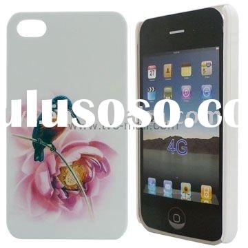 In-Mold Decoration Hard Cover Case for iPhone 4 (flower-and-bird painting )