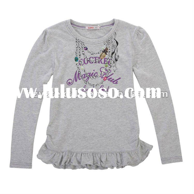 Kids new style 100%cotton fashion pattern girls printed t-shirt
