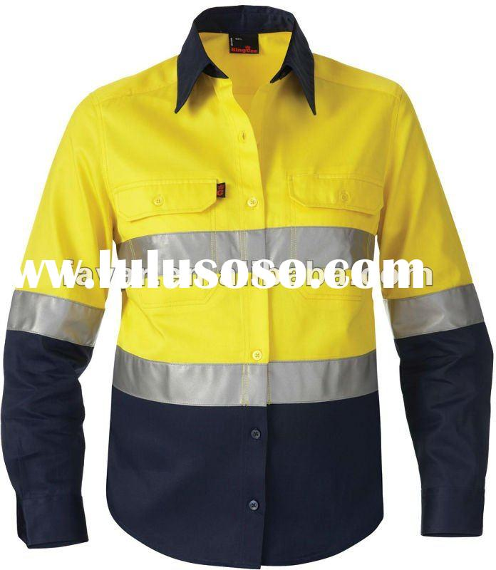 Men's high visibility reflective industrial mining construction work safety wear