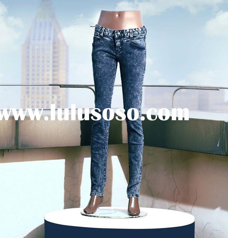 New pattern hot selling tight show thin snowflakes blue denim jeans for women