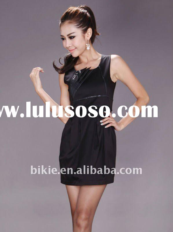 Newest style fashion sleeveless leather design casual dress for lady/women