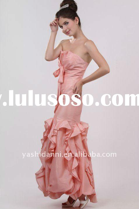 One of a Kind Pearl Taffeta Strapless maid of honor dress