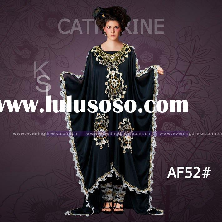 Plus size long sleeve maxi dresses embroidery maxi dress muslim Anj1605(AF52#)