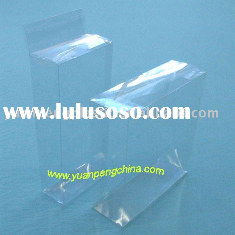 Transparent clear plastic folding box with hanger hole